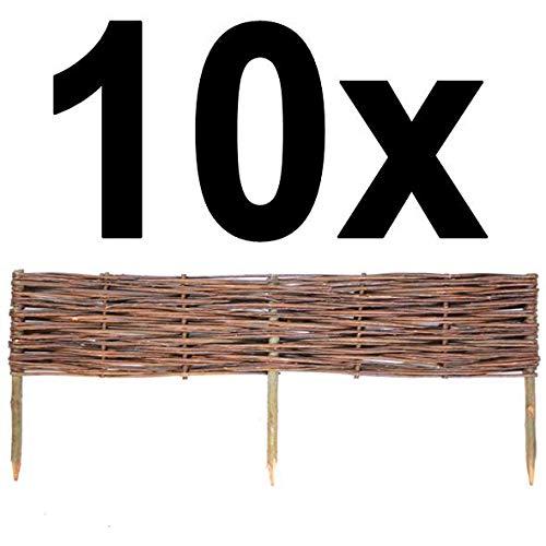 BOGATECO 10 x Beeteinfassung aus Weide | 100 cm Lang & 20 cm Hoch | Holz-Zaun...