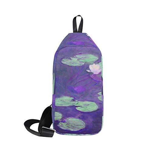 Ahomy Sling Crossbody Rucksack für Herren und Damen, Seerosen von Claude Monet...