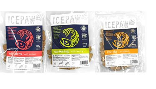 ICEPAW talesandtrails Leckerli-Kombipaket: Lachs 100g, Hering 100g, Filet pur...
