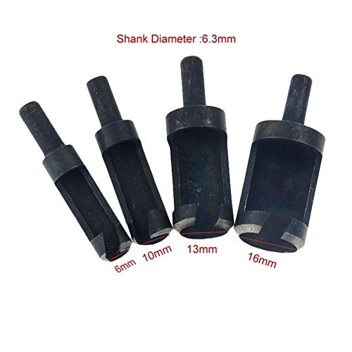 Bohrer 4pcs 10.06/13 / 16mm Rundschaft Carbon Steel Holzverarbeitung Plug-Cutter...