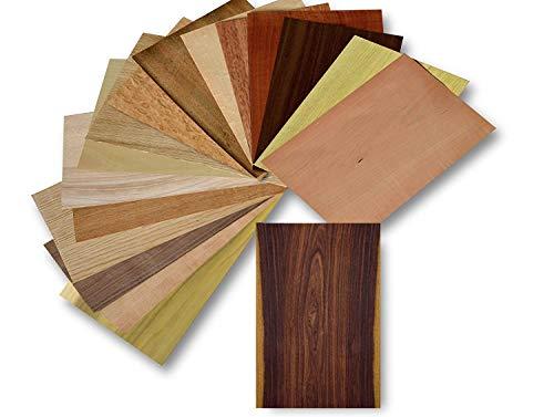 Holz Furnier Set, 17 Varianten, Echtholz, Nussbaum, Eiche, Teak. uvm. Bastelset,...