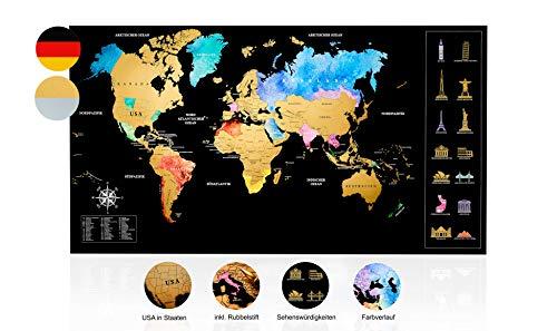 Inventy® Weltkarte zum Rubbeln in Wasserfarben Design - Rubbel Weltkarte in...