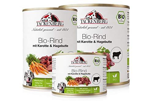 Tackenberg Hundefutter, Nassfutter Hunde, 100% Bio Rind mit Karotte & Hagebutte,...