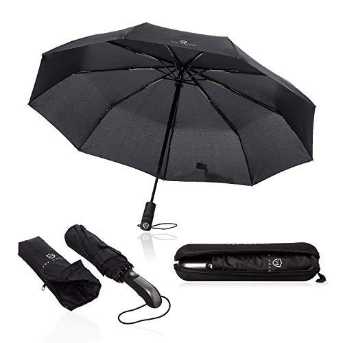 VON HEESEN Regenschirm sturmfest bis 140 km/h - inkl. Schirm-Tasche & Reise-Etui...
