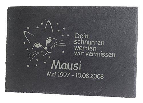 Feiner-Tropfen Gedenktafel Grabplatte Grabstein Schiefer mit Gravur 30x20 groß...