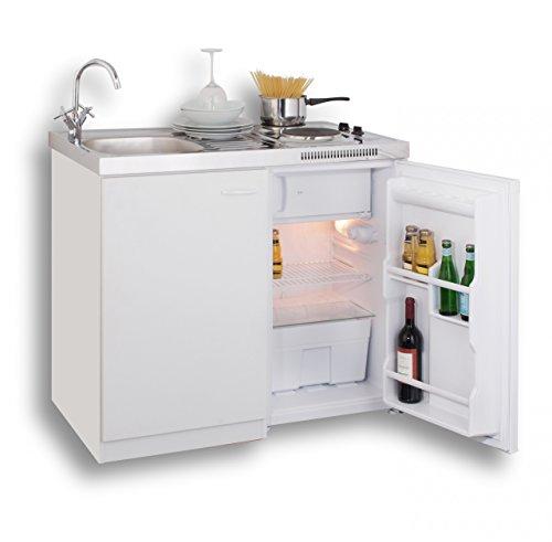 MEBASA MK0001 Pantryküche, Miniküche 100 cm Weiß mit Duokochfeld und...