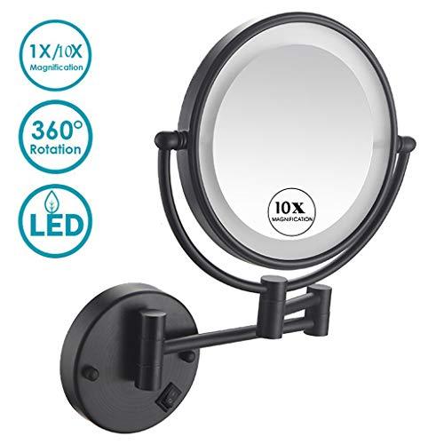 Kosmetikspiegel Wandmontage Zweiseitig Beleuchteter, 360° Horizontal Schwenkbar...