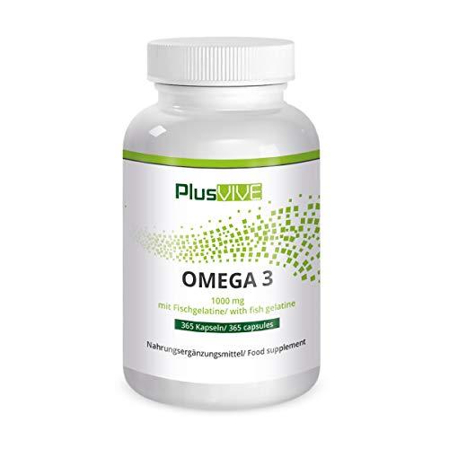Plusvive Omega 3, 365 Kapseln mit Fischgelatinehülle, (1000mg)
