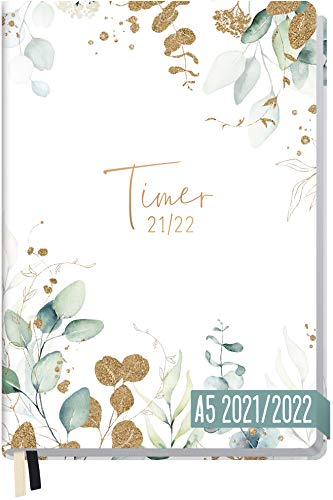 Häfft-Timer 2021/2022 A5 [Blattgold] Hardcover Schüler-Kalender,...