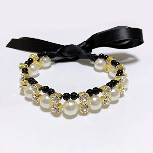 PETFAVORITES Halskette für Hunde und Katzen, 2 Reihen, Diamant, mit Schleife,...