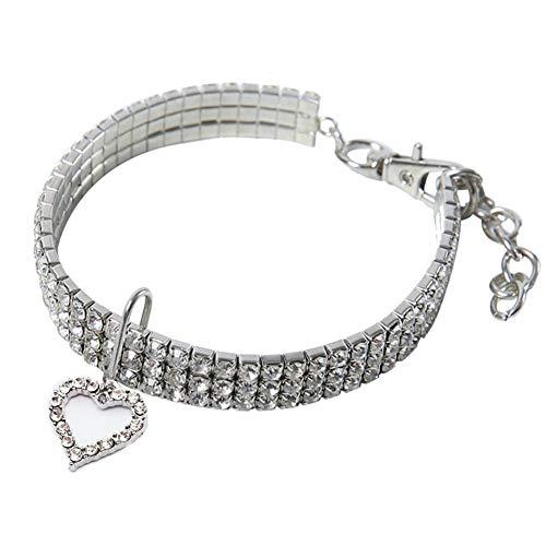 Janedream Haustier-Halsband mit Herz-Anhänger, Kristall, für Hunde und Katzen