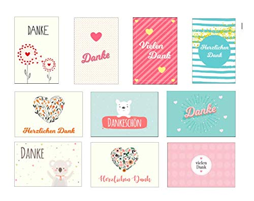 10 Stück Premium Dankeskarten (Klappkarten) mit 10 Umschlägen, Danke,...