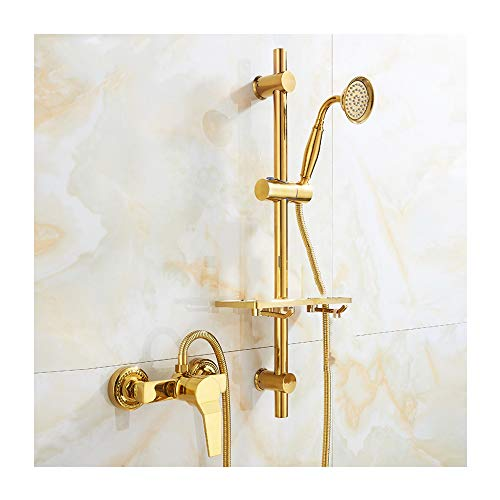 GLYYR Messing Gold Duschset Wand Handheld mit Kaltes und Heißes Wasser...
