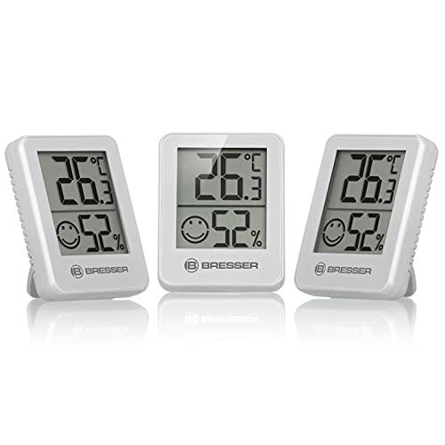 Bresser Thermometer Hygrometer Temeo Hygro Indicator 3er-Set zum Aufstellen oder...