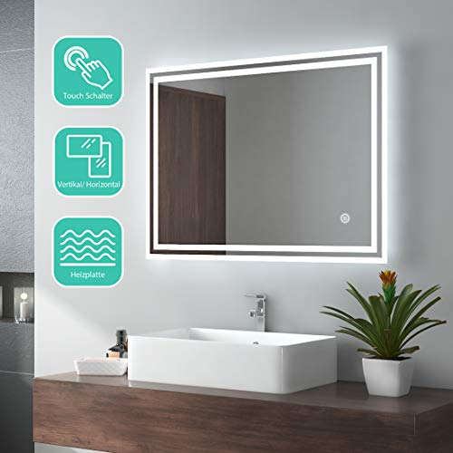EMKE LED Badspiegel 80x60cm Badezimmerspiegel mit Beleuchtung kaltweiß...