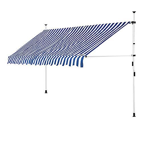 Detex Klemmmarkise 300 cm breit höhenverstellbar Blau Weiß Handkurbel...