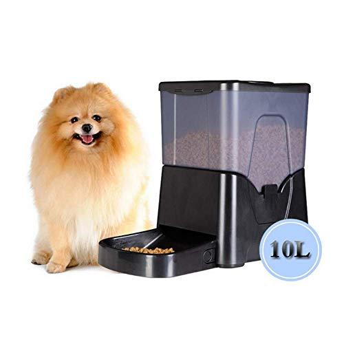 WAWZNN 10L Schwarz Futterautomat für Haustiere, 4 Mahlzeiten am Tag,...