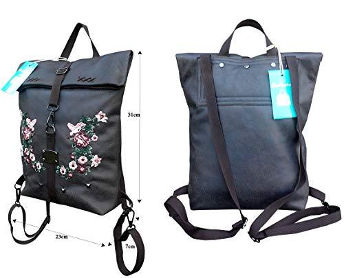 Damen Braun Rucksack mit gestickter Sakura. Super leicht. Foldover...