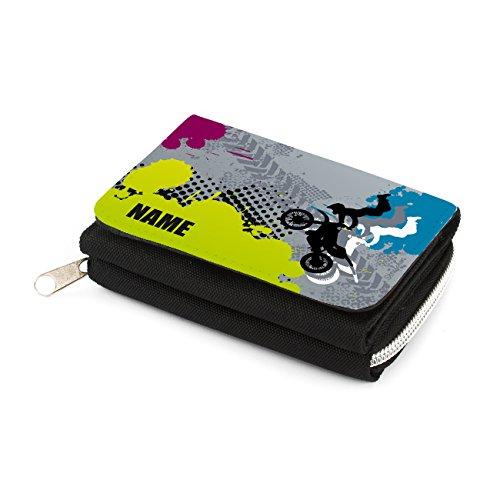 Striefchen Kindergeldbörse mit Namen - Motocross - in schwarz mit...