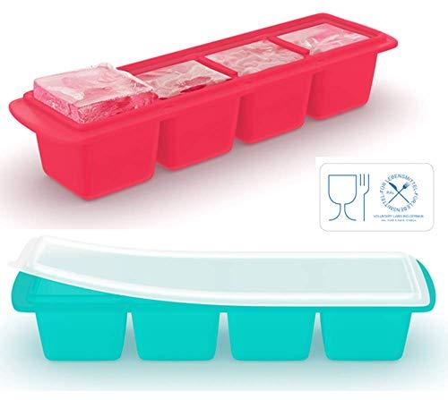 Eiswürfelschale aus Silikon mit Deckel (2er-Pack), Extragroße Eiswürfel,...