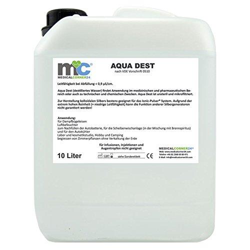 Aqua Dest destilliertes Wasser, 10 Liter Kanister, 0,9 µS/cm für Labor und...