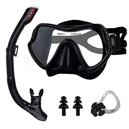 BROTOU Schnorchelset Schnorchelmaske, Taucherbrille Anti-Fog und Trocken...