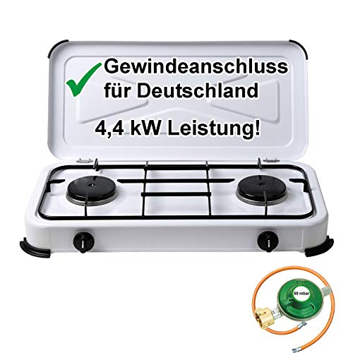 CAGO Campingkocher Gaskocher 2-flammig Gasherd 50 mbar mit Gasschlauch und...