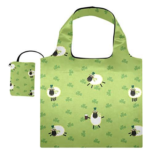 Wiederverwendbare Einkaufstaschen – Happy St. Patrick's Day Schaf, faltbar,...