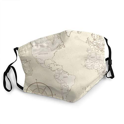 Antike Weltkarte Mit Ländergrenzen. Mundschutz Für Frauen, Gesichtsschutz...
