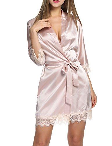 BeautyUU Damen Morgenmantel Kimono Bademantel Satin Nachthemd Nachtwäsche...
