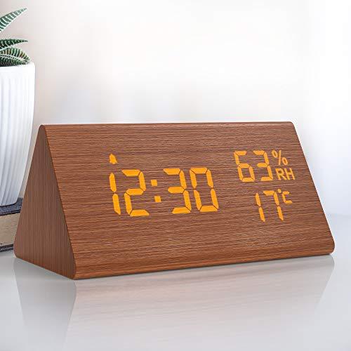 NBPOWER Wecker Digital LED Digitale Uhr Holz,Digitalwecker Tischuhr mit...