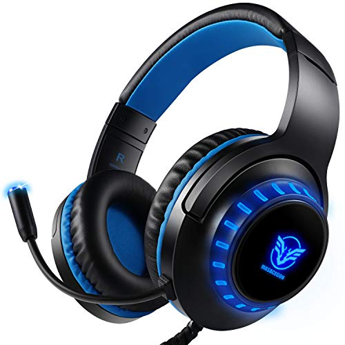 Pacrate PC Gaming Headset für PS4 Xbox One PC, Rauschunterdrückung Over-Ear...