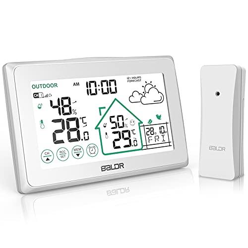 BALDR Wetterstation Funk mit Außensensor, Digital Thermometer Hygrometer Innen...