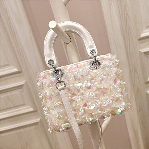 ABO Fashion Mädchen Handtasche mit Blumenpailletten und Rhombus andere
