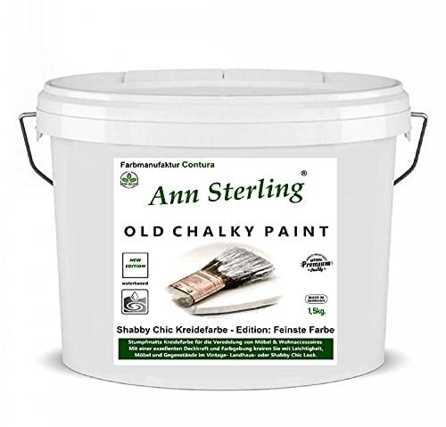 1,5 Kg Ann Sterling Kreidefarbe Shabby Chic Farbe: Chalky White/Weiß Lack...