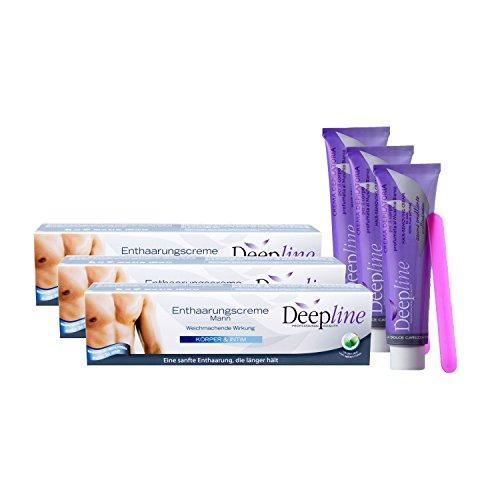 3 X 150ml Deepline Enthaarungscreme speziell für Männer - Enthaarungsmittel...