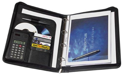 Genie Exclusiv A4 Schreibmappe mit Ringbuch, Taschenrechner, Reißverschluss,...