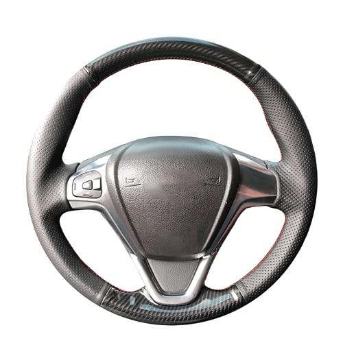 HEIZIJIA Kohlefaser Black Car Lenkradabdeckung, für Ford Fiesta 2008~2016 Figo...