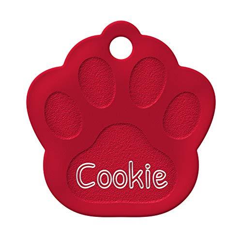 ENGRAVO Hundemarke Pfote in Rot 33mm mit Deiner persönlichen Gravur und 2...