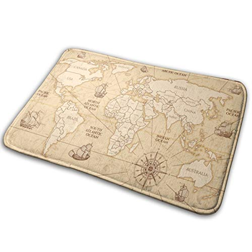 MANISENG Badematte Bad Teppiche,Antike Weltkarte mit Ländergrenzen Welt Vintage...