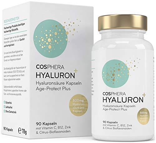Hyaluronsäure Kapseln hochdosiert mit 500 mg pro Kapsel - 90 vegane Hyaluron...