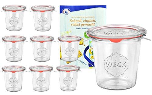 MamboCat 9er Set Weck Gläser 580ml 1/2 Liter Sturzgläser mit 9 Glasdeckeln, 9...