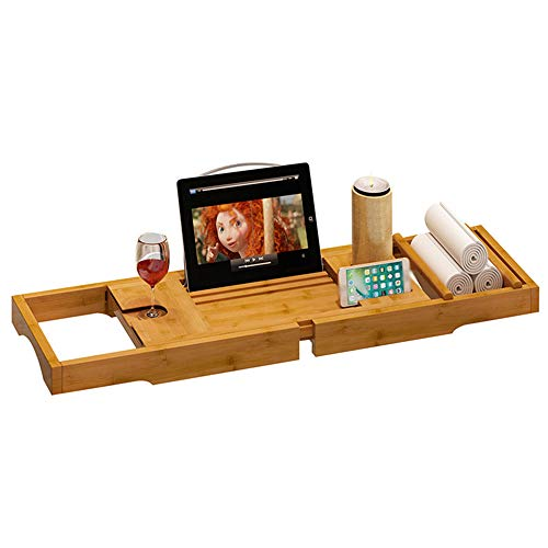 WJX Luxus Slim Premium Bamboo Bath Tray Rack, Natural Bamboo Bath Caddy Bridge,...