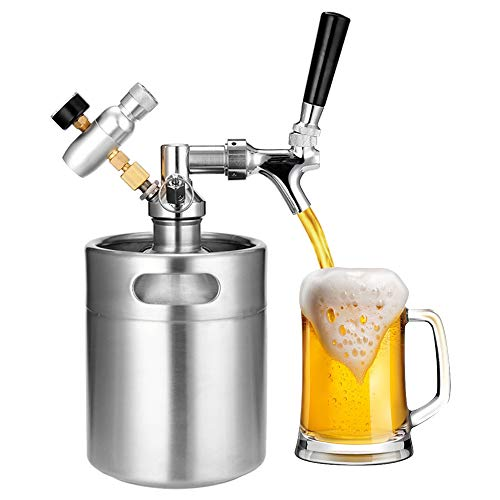 LaMei Yang 2L Mini-Bierfass aus Edelstahl, tragbares...