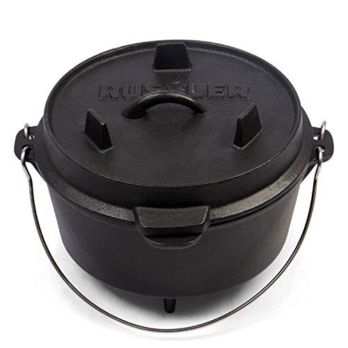 Rustler Dutch Oven Feuertopf, Schmortopf mit passendem Deckel und Edelstahl...