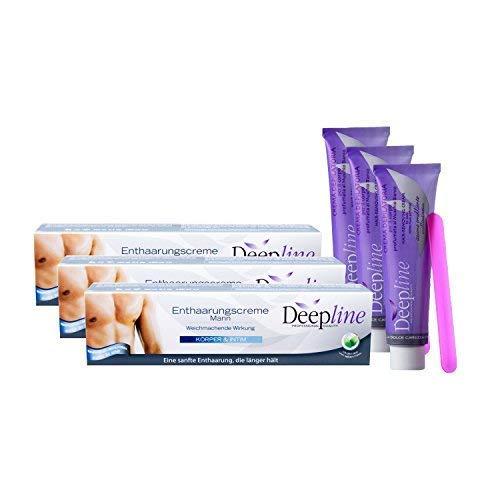 3 X Deepline Haarentfernungscreme für den Mann. Lässt die Haut sanft,...