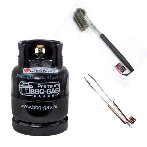 CAGOGAS 8 kg Premium BBQ Gas-Flasche & Grill-Bürste & XXL Grill-Zange optimal...