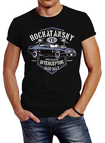Neverless Herren T-Shirt Rockatansky V8 Interceptor Car Slim Fit schwarz XL