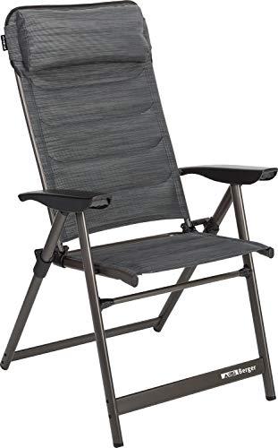 BERGER Klappsessel Slimline, grau/schwarz, Aluminium, 5-Fach verstellbar,...
