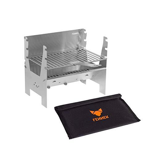 FENNEK Grill Light | Mobiler und steckbarer Holzkohle-Grill aus Edelstahl für...